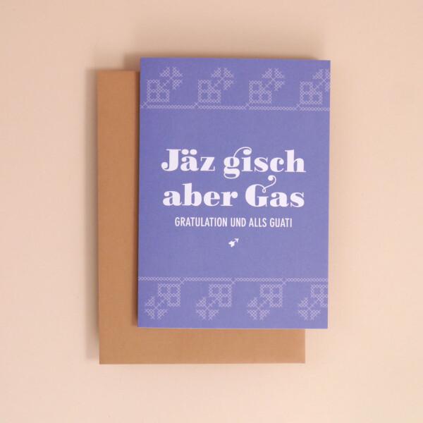 "Klappkarte A6 Kreuzstich: ""Jäz gisch aber Gas"""
