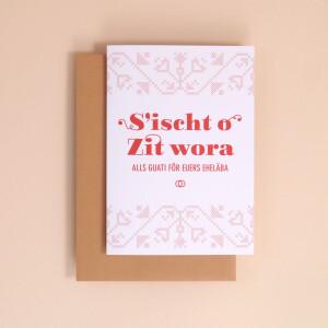 "Klappkarte A6 Kreuzstich: ""Sischt o Zit wora"""