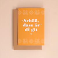 "Klappkarte A6 Kreuzstich: ""Schöö, dass äs di git"""