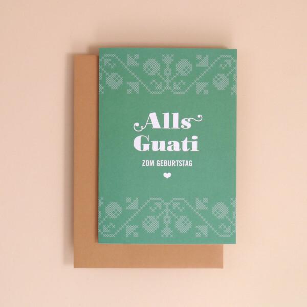 "Klappkarte A6 Kreuzstich, Grün: ""Alls Guati"""