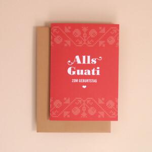 "Klappkarte A6 Kreuzstich, Rot: ""Alls Guati"""