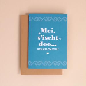 """Klappkarte A6 Kreuzstich, Blau: """"Mei, sischt doo"""""""