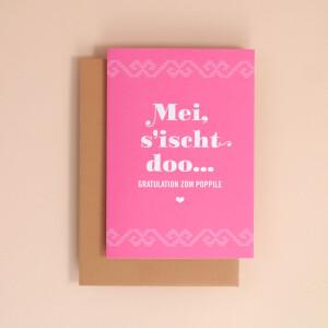 """Klappkarte A6 Kreuzstich, Pink: """"Mei, sischt doo"""""""