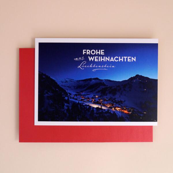 """Klappkarte A5 """"Frohe Weihnachten aus Liechtenstein"""" Malbun"""