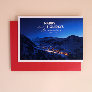 Klappkarte A5 «Happy Holidays from Liechtenstein» Malbun