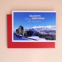 """Klappkarte A5 """"Seasons Greetings from Liechtenstein"""" Schloss Vaduz"""