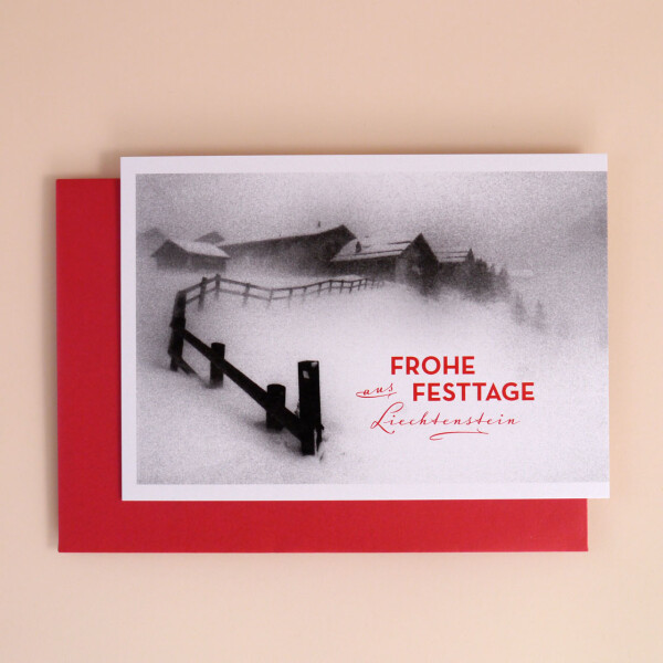 """Klappkarte A5 """"Frohe Festtage aus Liechtenstein"""" Steg"""