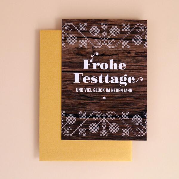"""Klappkarte A6 """"Frohe Festtage"""" Holz-Optik"""