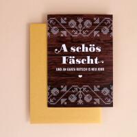 "Klappkarte A6 ""A schös Fäscht"" Holz-Optik"