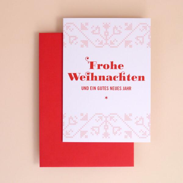 """Klappkarte A6 """"Frohe Weihnachten..."""" Weiss"""