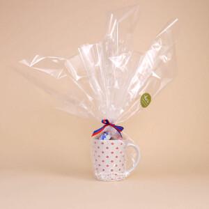 Tasse mit Kronenmuster Schokolade Rot