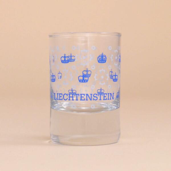 Schnapsglas Liechtenstein Kronenmuster Blau