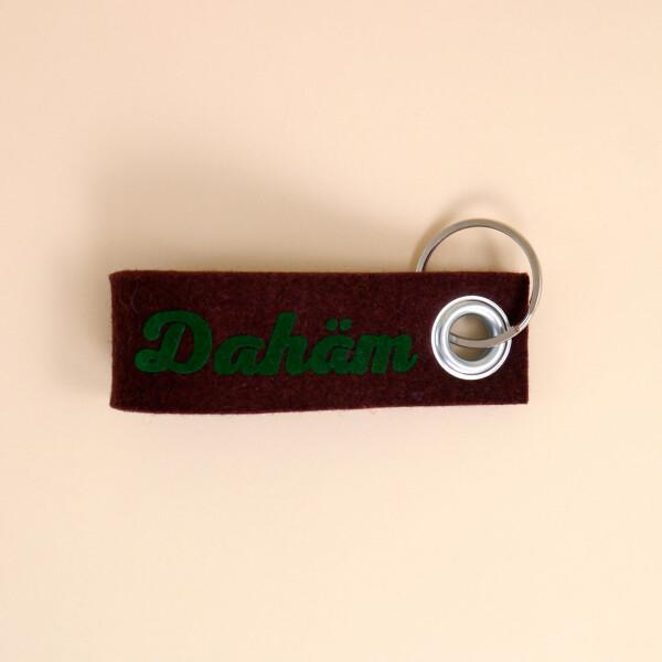 Schlüsselschlaufe Filz: «Dahäm» Braun