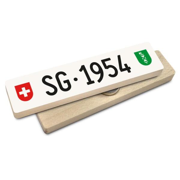 Hoi Schweiz Holzmagnet: SG Autonummer Jahrgang 1954