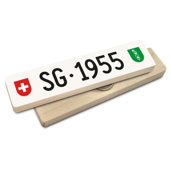 Hoi Schweiz Holzmagnet: SG Autonummer Jahrgang 1955