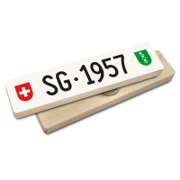 Hoi Schweiz Holzmagnet: SG Autonummer Jahrgang 1957