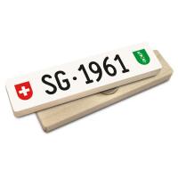 Hoi Schweiz Holzmagnet: SG Autonummer Jahrgang 1961