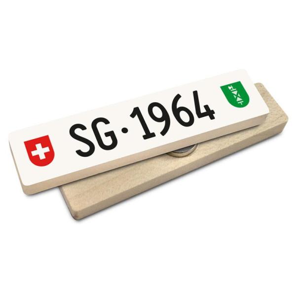 Hoi Schweiz Holzmagnet: SG Autonummer Jahrgang 1964