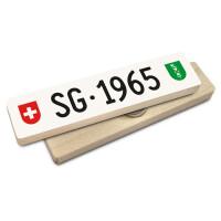 Hoi Schweiz Holzmagnet: SG Autonummer Jahrgang 1965