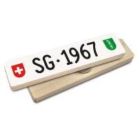 Hoi Schweiz Holzmagnet: SG Autonummer Jahrgang 1967