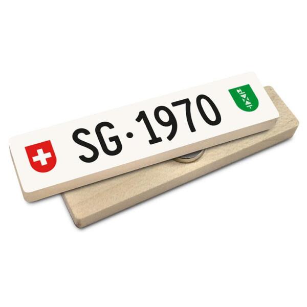 Hoi Schweiz Holzmagnet: SG Autonummer Jahrgang 1970