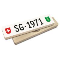 Hoi Schweiz Holzmagnet: SG Autonummer Jahrgang 1971