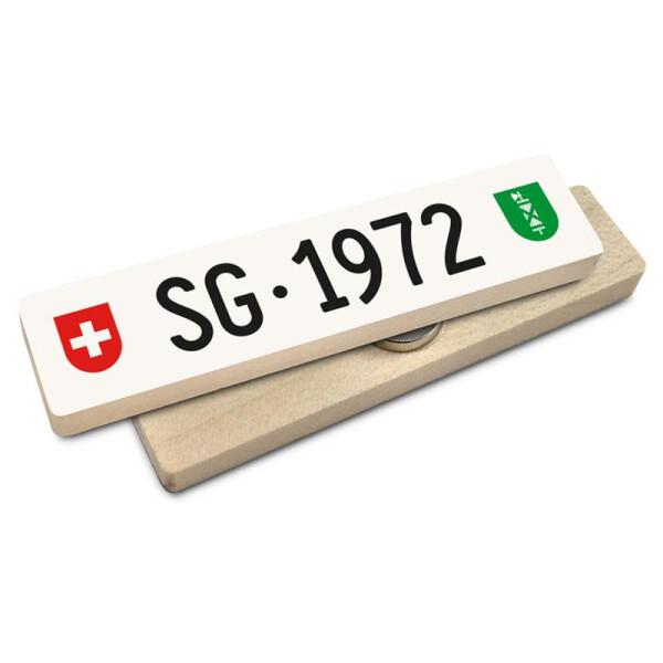 Hoi Schweiz Holzmagnet: SG Autonummer Jahrgang 1972