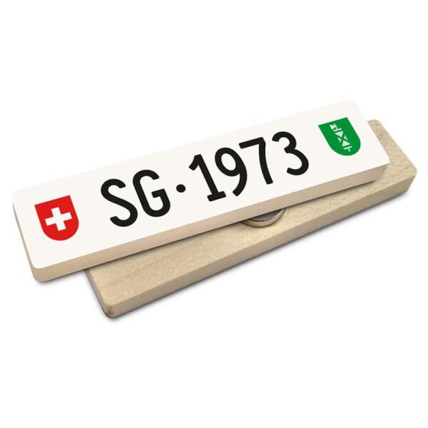 Hoi Schweiz Holzmagnet: SG Autonummer Jahrgang 1973