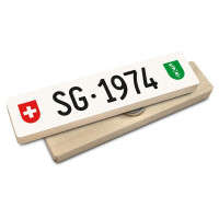 Hoi Schweiz Holzmagnet: SG Autonummer Jahrgang 1974