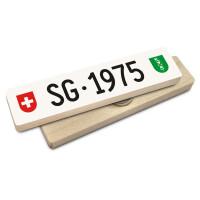Hoi Schweiz Holzmagnet: SG Autonummer Jahrgang 1975