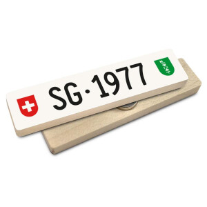 Hoi Schweiz Holzmagnet: SG Autonummer Jahrgang 1977