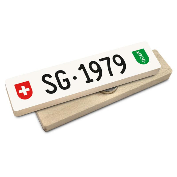 Hoi Schweiz Holzmagnet: SG Autonummer Jahrgang 1979