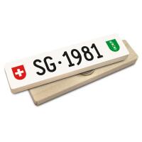 Hoi Schweiz Holzmagnet: SG Autonummer Jahrgang 1981