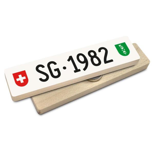 Hoi Schweiz Holzmagnet: SG Autonummer Jahrgang 1982