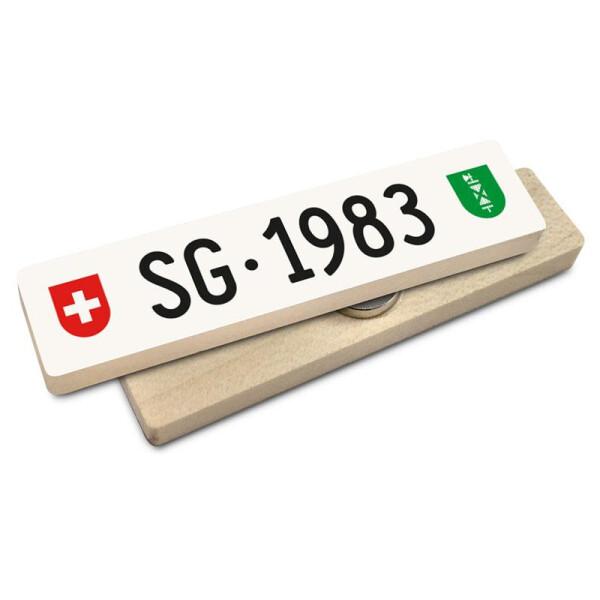 Hoi Schweiz Holzmagnet: SG Autonummer Jahrgang 1983