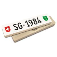 Hoi Schweiz Holzmagnet: SG Autonummer Jahrgang 1984