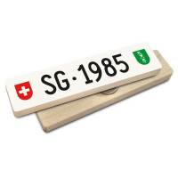 Hoi Schweiz Holzmagnet: SG Autonummer Jahrgang 1985