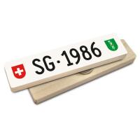 Hoi Schweiz Holzmagnet: SG Autonummer Jahrgang 1986