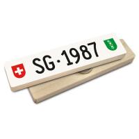 Hoi Schweiz Holzmagnet: SG Autonummer Jahrgang 1987