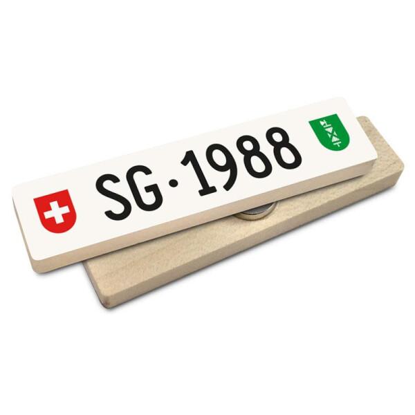 Hoi Schweiz Holzmagnet: SG Autonummer Jahrgang 1988