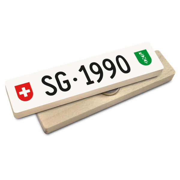 Hoi Schweiz Holzmagnet: SG Autonummer Jahrgang 1990