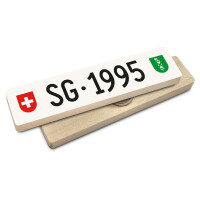 Hoi Schweiz Holzmagnet: SG Autonummer Jahrgang 1995