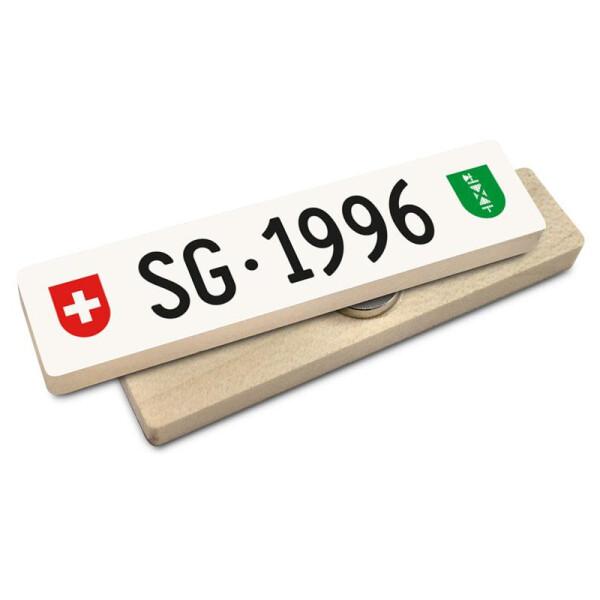 Hoi Schweiz Holzmagnet: SG Autonummer Jahrgang 1996