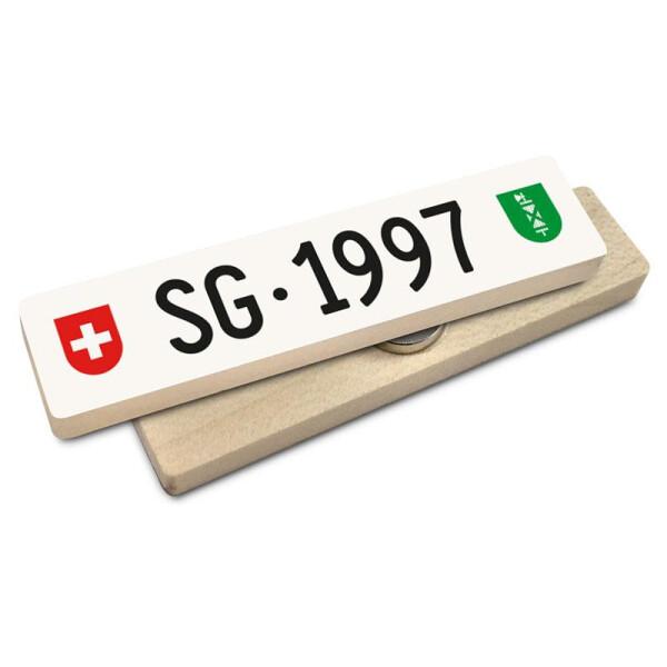 Hoi Schweiz Holzmagnet: SG Autonummer Jahrgang 1997
