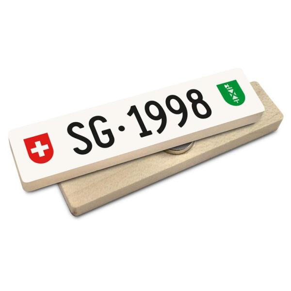Hoi Schweiz Holzmagnet: SG Autonummer Jahrgang 1998