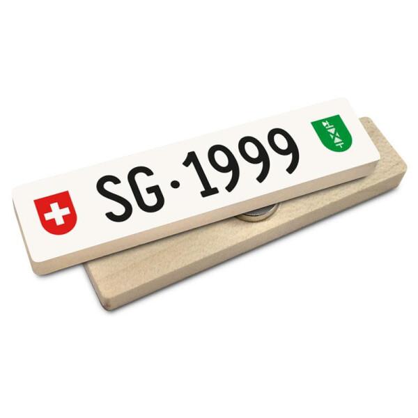 Hoi Schweiz Holzmagnet: SG Autonummer Jahrgang 1999