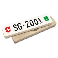 Hoi Schweiz Holzmagnet: SG Autonummer Jahrgang 2001