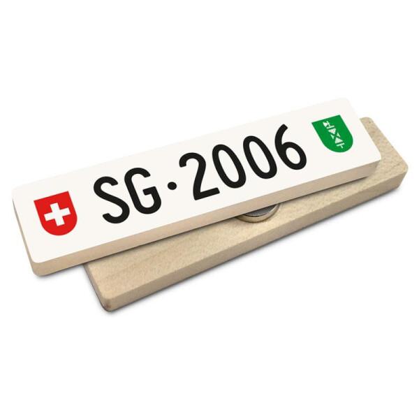 Hoi Schweiz Holzmagnet: SG Autonummer Jahrgang 2006