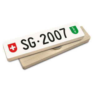 Hoi Schweiz Holzmagnet: SG Autonummer Jahrgang 2007