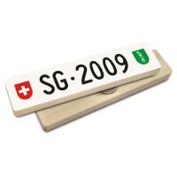 Hoi Schweiz Holzmagnet: SG Autonummer Jahrgang 2009